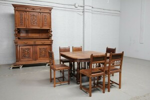 品番8544現地在庫販売フランス原産アンティーク家具ウォールナット製ダイニングルーム8点セット1890年