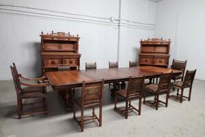品番3820現地在庫販売フランス原産アンティーク家具ウォールナット製ダイニングルーム13点セット1890年