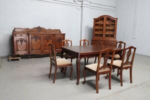 品番8801ヨーロッパ市場在庫品アンティーク家具ダイニング9点セット現地在庫商品1920年代ベルギー原産オーク製