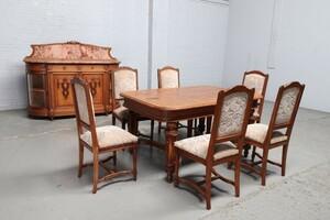 品番9003aヨーロッパ市場在庫品アンティーク家具ダイニング8点セット現地在庫商品1900年代フランス原産オーク製