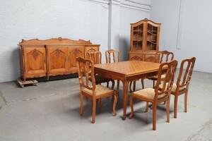 品番8799ヨーロッパ市場在庫品アンティーク家具ダイニング9点セット現地在庫商品1920年代ベルギー原産オーク製