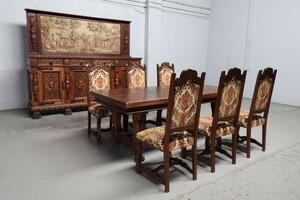 品番8980現地在庫販売フランス原産アンティーク家具オーク製ダイニングルーム9点セット1920年