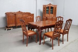 品番8832ヨーロッパ市場在庫品アンティーク家具ダイニング9点セット現地在庫商品1920年代ベルギー原産オーク製