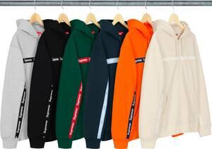 P ★★ 新品/未使用★人気レア色★Supreme Box Logo ステッカー 納品書原本 タグ付属★ ★ Text Stripe Zip Up Hooded Sweatshirt