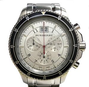 美品 バーバリー 時計 クロノグラフ BU7603 メンズ クォーツ 43mm シルバー 回転ベゼル BURBERRY 腕時計 紳士用 SS メンズウォッチ