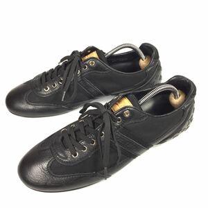 【ルイヴィトン】本物 LOUIS VUITTON 靴 26cm 黒 モノグラム スニーカー カジュアルシューズ 本革×化学繊維 レザー メンズ イタリア製 7