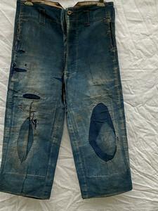 昭和初期 日本の初期デニム 継ぎ接ぎ 当て布 刺し子 藍染 パンツ たっつけ ジャパンヴィンテージ 20s30s Japan Vintage 襤褸 boro 資料