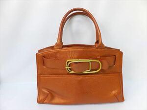 即決 正規品 フルラ ハンドバッグ トートバッグ 鞄 オレンジ レディース ゴールド金具 FURLA
