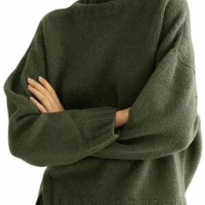 オーバーサイズ ハイネック ニット ハイネックセーター レディースニットセーター L グリーン
