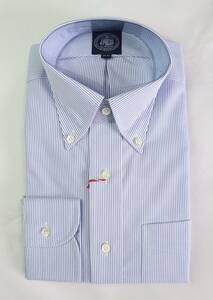 ★J.PRESS★長袖ボタンダウンシャツ(サイズ39-84、形態安定、日本製、細紺ストライプ)新品