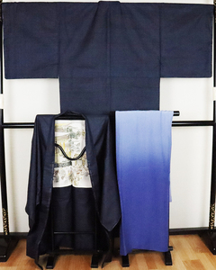 【送料無料】大島紬アンサンブルと長襦袢のセット★紺小亀甲 LL寸 MY3246【美品】