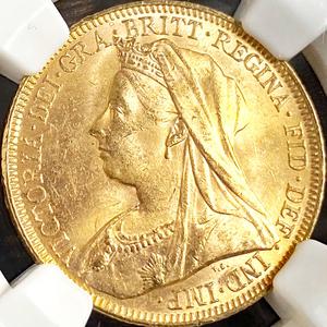 【世界6位・準最高鑑定】 1895 オーストラリア ソブリン 金貨 NGC MS63 ヴィクトリア ベール アンティーク コイン ビクトリア