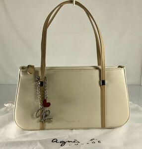 美品 Agnis b VOYAGE アニエス・ベー 可愛い フォーマルパーティ等 上質本革 軽量 クリーム×ベージュ ハンドバッグ。ロゴチャーム付き。