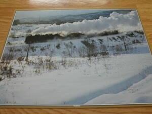 大判印刷物 蒸気機関車 力闘 函館本線 二股ー蕨岱 D51形とC62形の重連