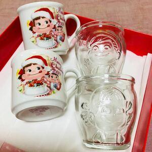 ペコちゃん ポコちゃん クリスマスカップ&プリングラス 計4個セット 不二家