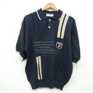 MUNSING WEAR GRAND SLAM *メンズ ニットポロシャツ MAサイズ *紺系ストライプ柄 半袖*部分的メッシュ加工 MADE IN JAPAN 日本製 ゴルフ