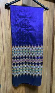 ハギレ 生地 インド サリー生地 絹100% 紫 刺 高級 伝統手工芸品 200×110㎝