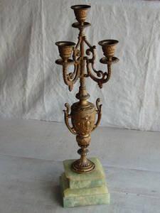 フランスアンティーク キャンドルスタンド ブロンズ 青銅 燭台 蚤の市 ブロカント ゴールド 3灯 インテリア 飾り オブジェ