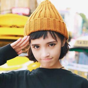 ニット帽 ニットキャップ ビーニー 帽子 韓国 古着 ブラック 黒 冬服