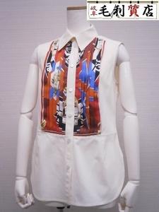 送料無料!格安!エルメス HERMES ノースリーブ ブラウス シャツ プリーツスカーフ シルク コットン ホワイト サイズ40 お洒落 服