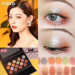 アイシャドウ16色パレット 海外人気コスメnovo高品質 発色可愛い目元素敵