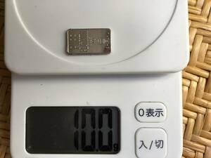 石福白金10gコインバー(小さいインゴット純度99,95)10g☆ピカピカ新品即決