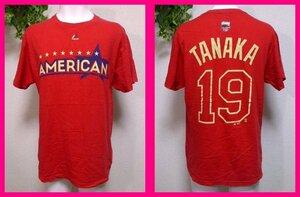 送料無料★田中将大19・TシャツM/L 「ALL STAR GAME 2014」AMERICAN レッド ニューヨークヤンキース TANAKA Yankees Majestic製