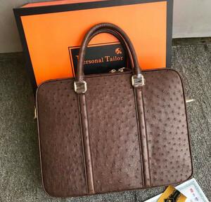 ダチョウ革 オーストリッチ 書類かばん ブリーフケース ハンドバッグ ショルダーバッグ 2way仕様 メンズ 紳士鞄 ビジネス 本革 大容量 BR