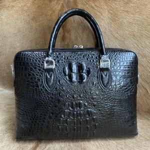 ワニ革 クロコダイル 書類かばん ブリーフケース ハンドバッグ ショルダーバッグ 2way メンズ 紳士鞄 ビジネスバッグ 本革 骨部革 仕事