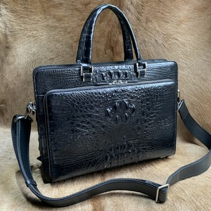 ワニ革 クロコダイル 書類かばん ブリーフケース ハンドバッグ ショルダーバッグ 2way メンズ 紳士鞄 ビジネスバッグ 本革 骨部革 通勤