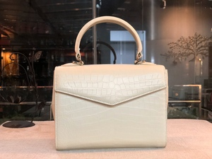 クロコダイル ワニ革 ハンドバッグ ショルダーバッグ 2way 女性鞄 手持ち 肩掛け ワンハンドル 本革 腹革センター ホワイト 27cm タテ型