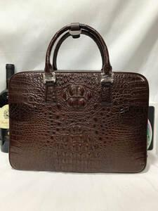 ワニ革 クロコダイル ブリーフケース 書類かばん ハンドバッグ ショルダーバッグ 2way 本革 メンズ 紳士鞄 ビジネス仕事 色選択可 骨部革