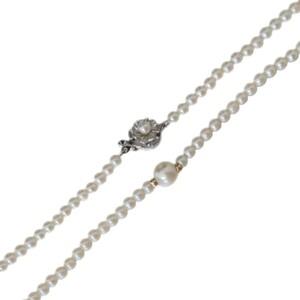 ベビーパールチェーン 1粒珠デザイン パールネックレス 本真珠×金具SILVER オフホワイト NT Bランク