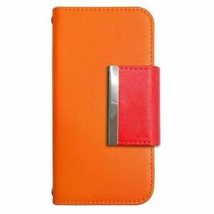 Galaxy A21 SC-42A SCV49 PUレザー 手帳型 ケース オレンジ フレーム かわいい おしゃれ