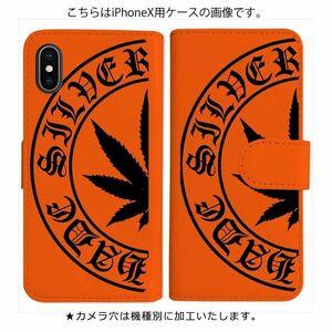 Galaxy A21 SC-42A SCV49 手帳型 ケース オレンジ マリファナ柄 ロゴ 黒 おしゃれ