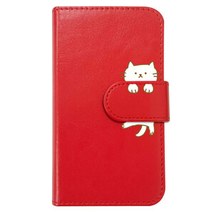 Galaxy A21 SC-42A SCV49 手帳型 ケース レッド 猫 おしゃれ