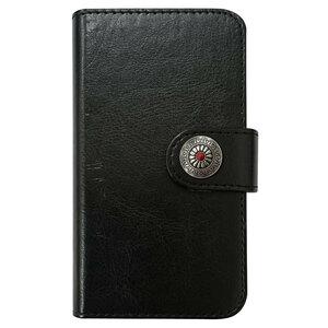 Galaxy A21 SC-42A SCV49 PUレザー 手帳型 ケース ブラック コンチョ05 おしゃれ