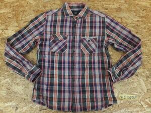 〈レターパック発送〉NICOLE selection ニコル メンズ チェック柄 裏起毛 ダブルポケット フランネルシャツ 46 紺赤白他