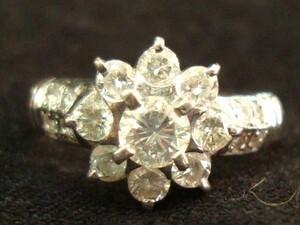 IE 指輪 Pt900 プラチナ ダイヤモンド ダイヤ巻 1.02ct 花 Pt900 9.5号 リング 最高級 豪華 レディース 激安 美品