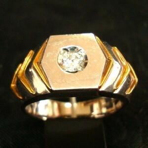 DY 豪華 指輪 Pt900 K18 ダイヤモンド リング 0.15ct 13.5号 プラチナ ゴールド 高級感大 特大 大きめ 印台 人気 プレゼント 贈り物 珍品