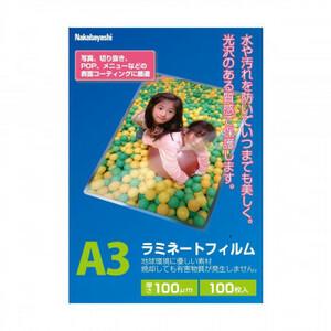 ナカバヤシ ラミネ-トフィルム100-100 A3 LPR-A3E2(a-1594200)