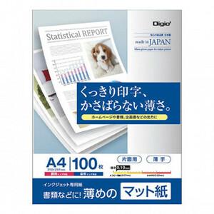 ナカバヤシ インクジェット用紙 マット紙FG 薄手 A4 100枚 JPFG-A4S-100(a-1595236)