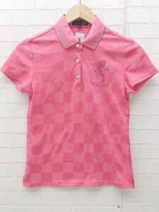 ◇ 23区 sport ブロックチェック ラインストーン 半袖 ポロシャツ サイズM ピンク系 レディース 1002800856893