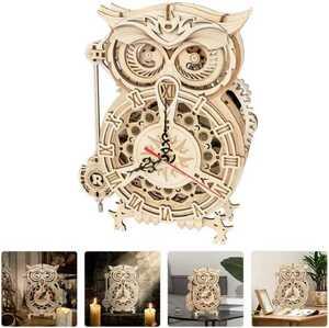 壁掛け時計 輸入雑貨 掛け時計 ウォールクロック フクロウ DIY パズル 時計 木製