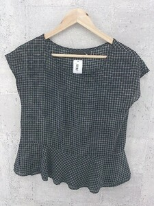 ◇ UNTITLED アンタイトル 格子柄 フレンチスリーブ Tシャツ カットソー 2 ブラック アイボリー * 1002800301584