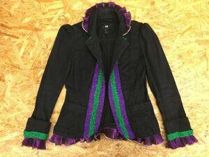 H&M エイチアンドエム エレガント パフスリーブ フリル ジャケット レディース ビーズ装飾 36 黒