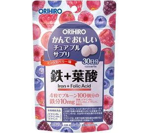 【送料無料】 かんでおいしいチュアブルサプリ 鉄 120粒(30日分) オリヒロ●