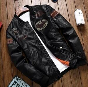 3色 「サイズと色選択可」 おまけ付き?新品メンズライダースジャンパー フライトジャケット刺繍バイク細身 レザージャケット S~4XL