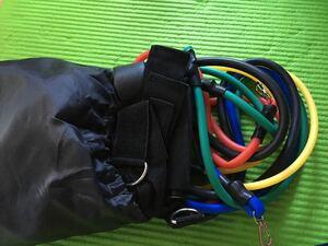 トレーニングチューブ 筋肉ストレッチ 強力 耐久性 アップ 筋トレ 天然ラテックス製 男女兼用 収納ポーチ付 11点セット