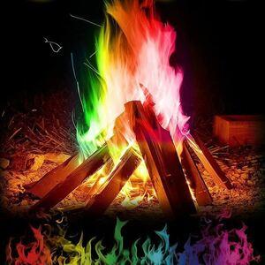 25g マジック火災カラフルな炎粉末たき火小袋花火手品屋外キャンプハイキングサバイバルツール